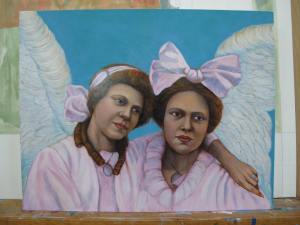 "Work in Progress, ""Sisters in Pink"", casein and oil glazes on maple panel, 2015, Tanna Bennett"